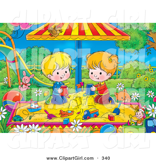 Clip Art of a Cute Cat near a Boy and Girl Playing in a Sandbox in a Park