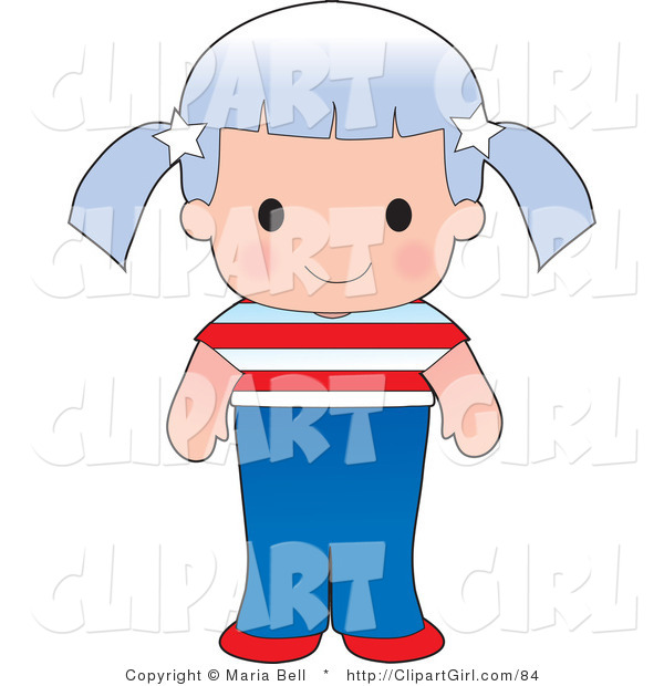 Clip Art of a Cute Caucasian American Girl Wearing a Flag of the United States Shirt