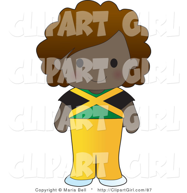 Clip Art of a Cute Ethnic Jamaican Girl Wearing a Flag of Jamaica Shirt