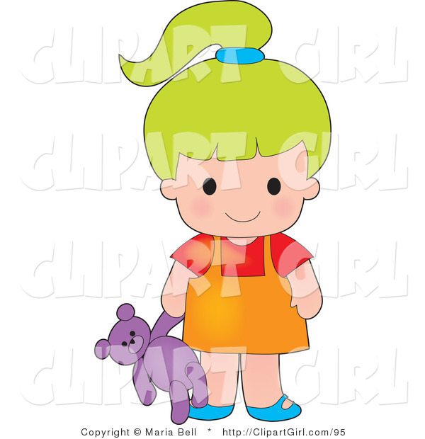 Clip Art of a Cute Green Haired Caucasian Girl Carrying a Purple Teddy Bear