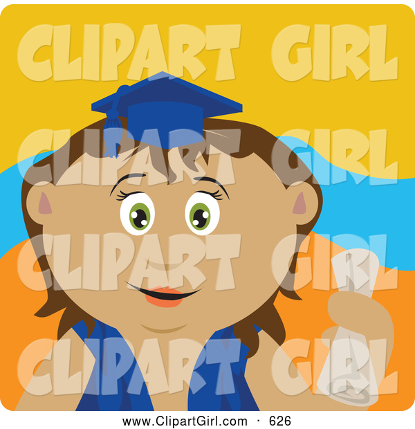 Clip Art of a Cute Hispanic Graduating Girl Holding a Diploma