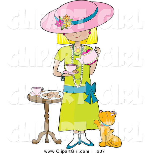 Clip Art of a Cute Little Blond Caucasian Girl Dressed in Her Mother's Clothing and Pouring a Cup of Tea into a Cup While a Marmalade Cat Looks up at Her, Waiting for a Treat