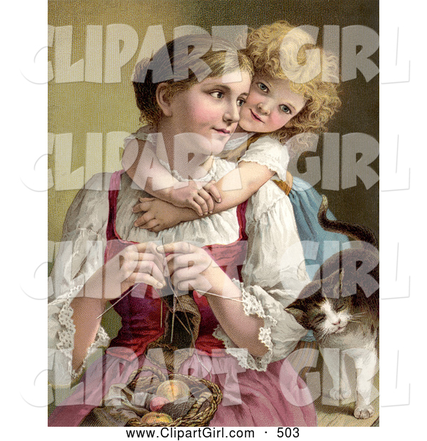 Clip Art of a Cute Little Blond Victorian Girl Hugging Her Mom from Behind As She Knits, a Cat Rubbing Against Her Arm