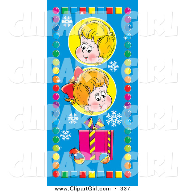 Clip Art of a Cute Little Boy and Girl Above a Gift, Snowflakes and Baubles, Bordered by Colorful Circles and Squares on Blue