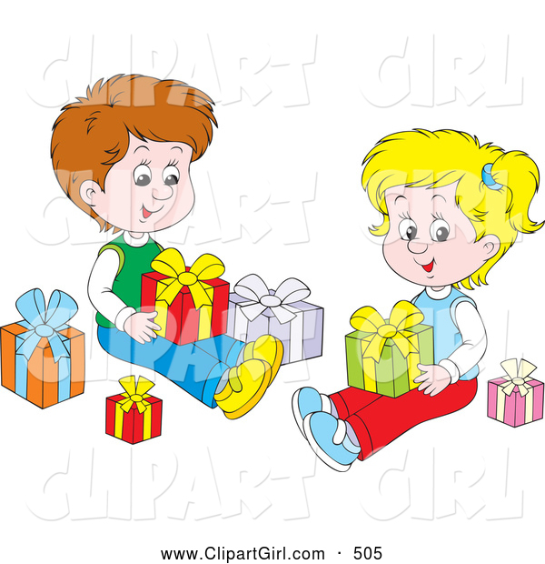 Clip Art of a Cute Little Boy and Girl, Brother and Sister, Sitting on the Floor and Opening Christmas Presents