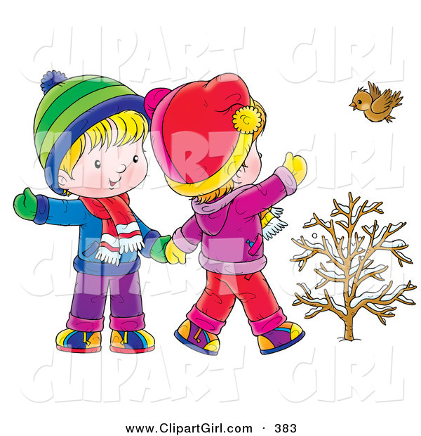Clip Art of a Cute Little Boy and Girl Walking, Holding Hands and Waving to a Bird on a Winter Day