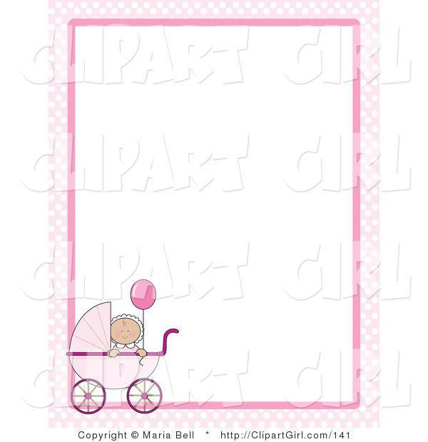 Clip Art of a Cute Little Caucasian Baby Girl Holding a Pink Balloon in a Pink Baby Carriage on a Pink and White Checkered Stationery Frame