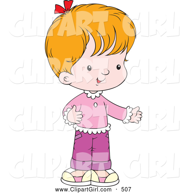 Clip Art of a Cute Little Girl Dressed in Pink and Purple, Holding One Arm out