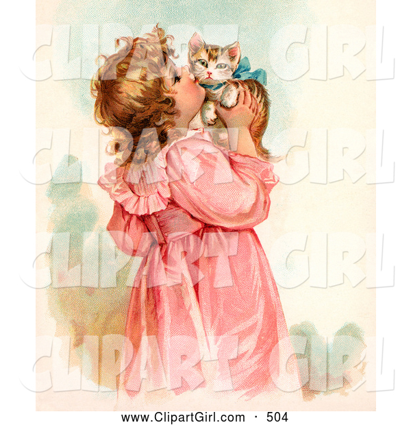 Clip Art of a Cute Little Victorian Girl in a Pink Dress, Holding up and Kissing Her Cute Kitten on the Cheek