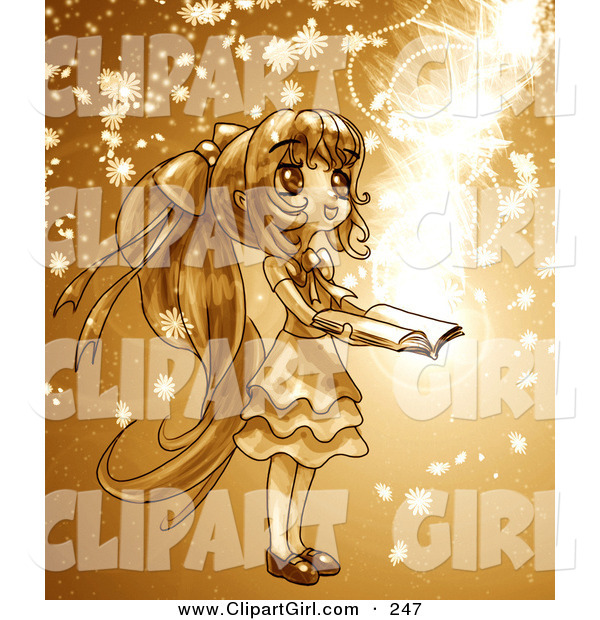 Clip Art of a Cute, Long Haired Anime Girl in a Dress, Holding a Magical Book Open While Floral Particles and Light Spin Around Her