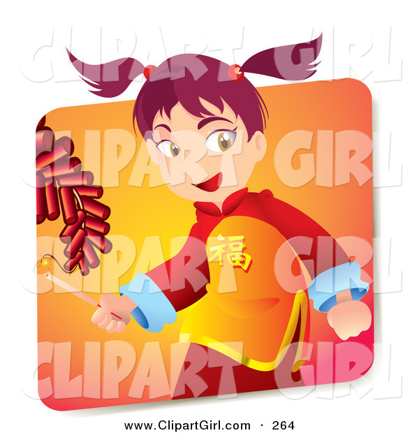 Clip Art of a Cute Pink Haired Japanese Girl in Cultural Clothes, Holding a Lighter and Igniting Firecrackers on New Years