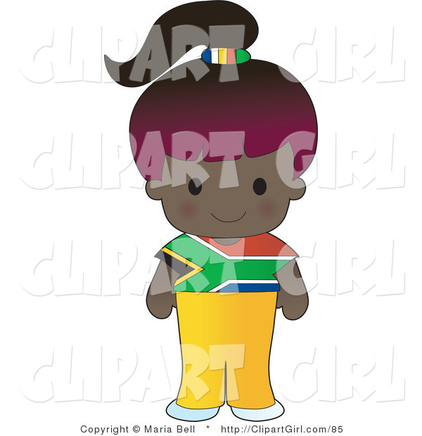 Clip Art of a Cute Purple Haired African Girl Wearing a Flag of South Africa Shirt