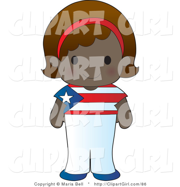 Clip Art of a Cute Smiling Puerto Rican Girl Wearing a Flag of Puerto Rico Shirt