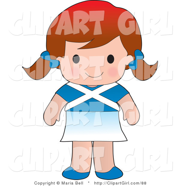 Clip Art of a Cute White Scottish Girl Wearing a Flag of Scotland Shirt