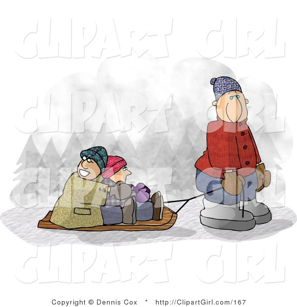 Clip Art of a Dad Pulling Kids on a Snow Sled in Winter