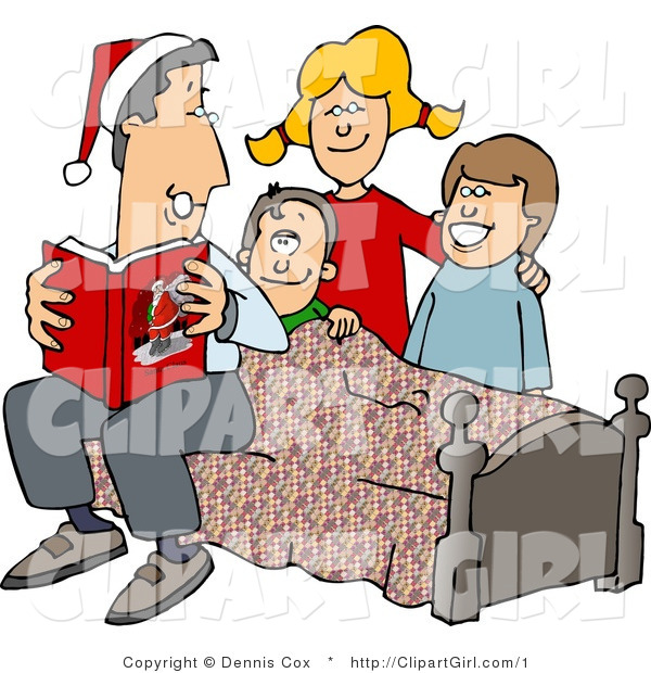 Clip Art of a Dad Reading Christmas Stories to His Kids - Royalty Free