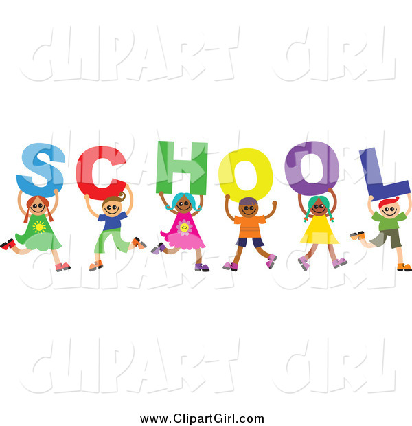 Clip Art of a Diverse Group of Children Holding up Letters Spelling School