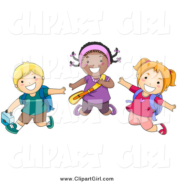 Clip Art of a Diverse Happy School Kids Jumping