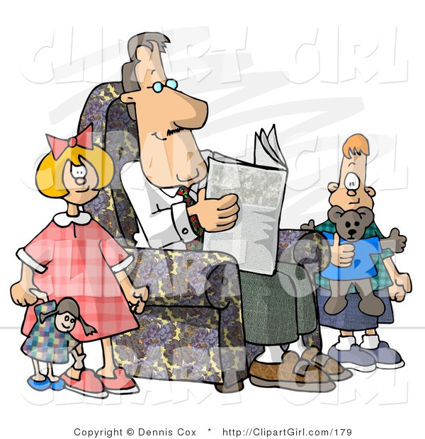 Clip Art of a Divorced Dad Reading Newspaper Beside His Bored Kids