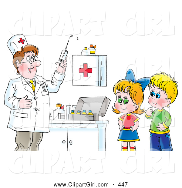 Clip Art of a Doctor Preparing a Syringe for Shots While a Boy and Girl Watch, on White