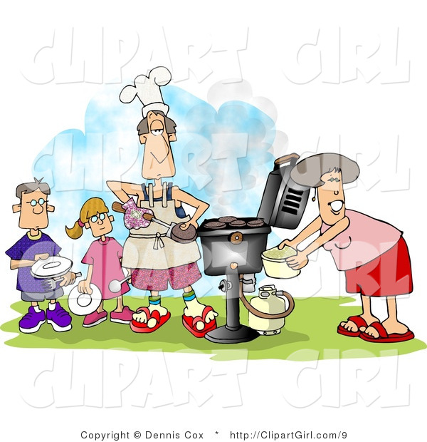 Clip Art of a Family BBQing Outdoors on a Nice Day
