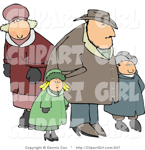 Clip Art of a Family Going out Together in Heavy Coats During the Winter Season