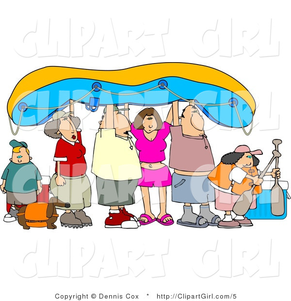 Clip Art of a Family Going River Rafting