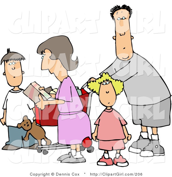 Clip Art of a Family Grocery Shopping Together, the Dad Pushing the Cart