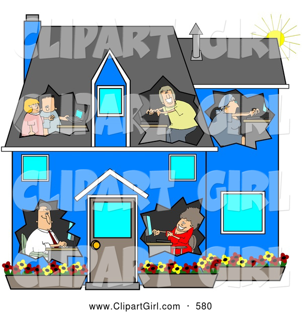 Clip Art of a Family in a Blue House