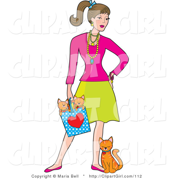 Clip Art of a Fashionable Young White Brunette Woman Wearing Jewelery and Holding a Bag with Two Orange Kittens in It While the Mother Cat Leans and Rubs Against Her Leg
