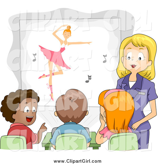 Clip Art of a Female Teacher Showing a Ballet Movie to Her Class