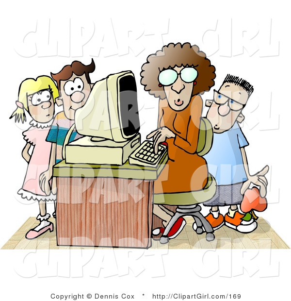 Clip Art of a Female Teacher Sitting at a Computer, Surrounded by School Kids in a Classroom Environment