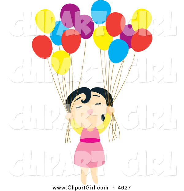 Clip Art of a Floating Asian Girl with Balloons
