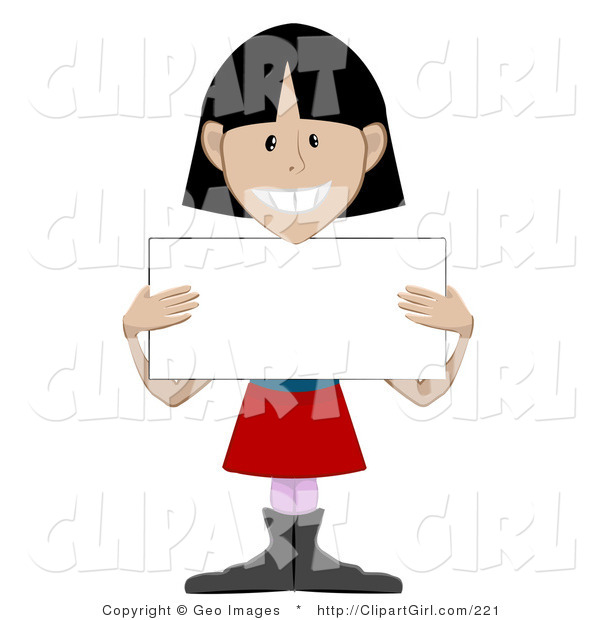 Clip Art of a Friendly Black Haired Girl Holding a Blank Placard Sign
