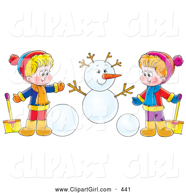 Clip Art of a Friendly Boy and Girl Holding Shovels and Making a Snowman