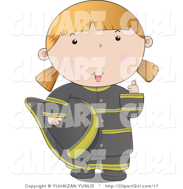 Clip Art of a Friendly Firefighter Woman in a Black Uniform, Giving the Thumbs up