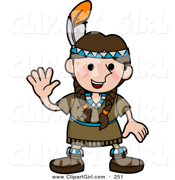 Clip Art of a Friendly White Girl in a Native American Indian Costume Made of Leather and Beads, Wearing a Feather in Her Hair and Waving