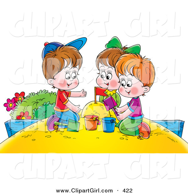 Clip Art of a Girl and Two Boys Playing in a Sand Box at the Park
