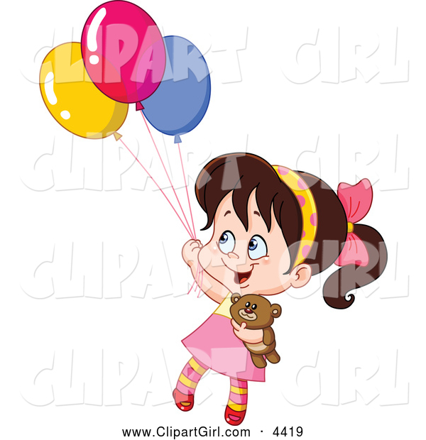 Clip Art of a Girl Floating with Her Teddy Bear and Balloons