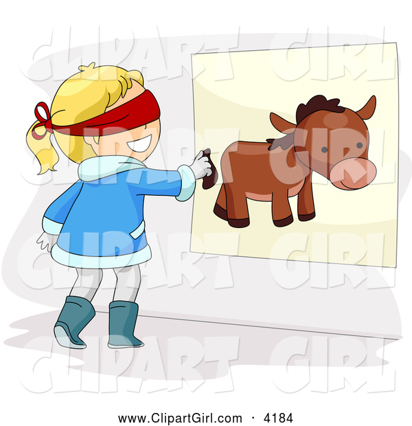 Clip Art of a Girl Pinning the Tail on a Donkey at a Party