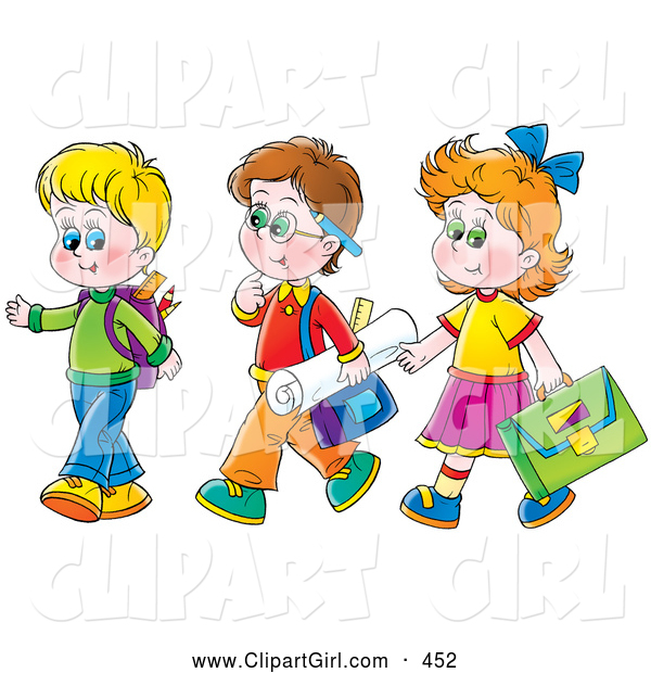 Clip Art of a Girl Walking with Two Boys on the Way to School, on White