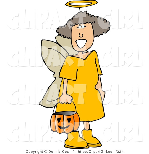 Clip Art of a Girl Wearing Halloween Angel Costume While Trick-or-Treating on Halloween Eve