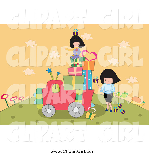 Clip Art of a Girls Loading up a Truck with Gifts on a Hill