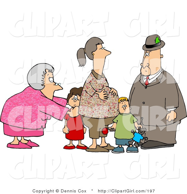 Clip Art of a Grandma and Grandpa Standing with Grandchildren and Their Pregnant Daughter