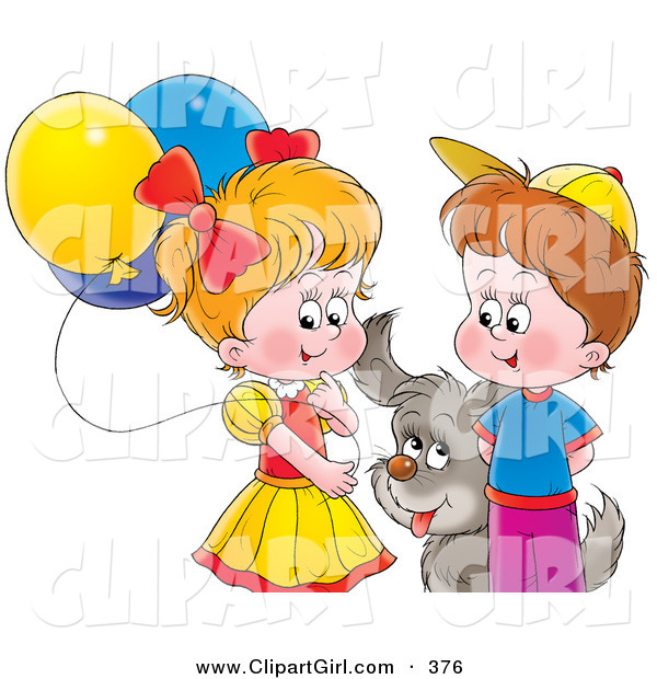Clip Art of a Gray Puppy Playing with a Boy and Girl with Balloons