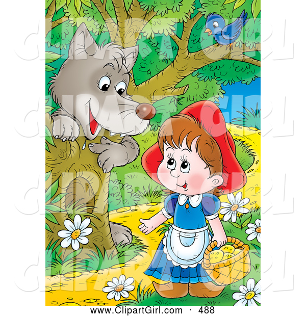 Clip Art of a Gray Wolf Emerging Behind a Tree Under a Bird, Watching Little Red Riding Hood As She Walks Through the Forest