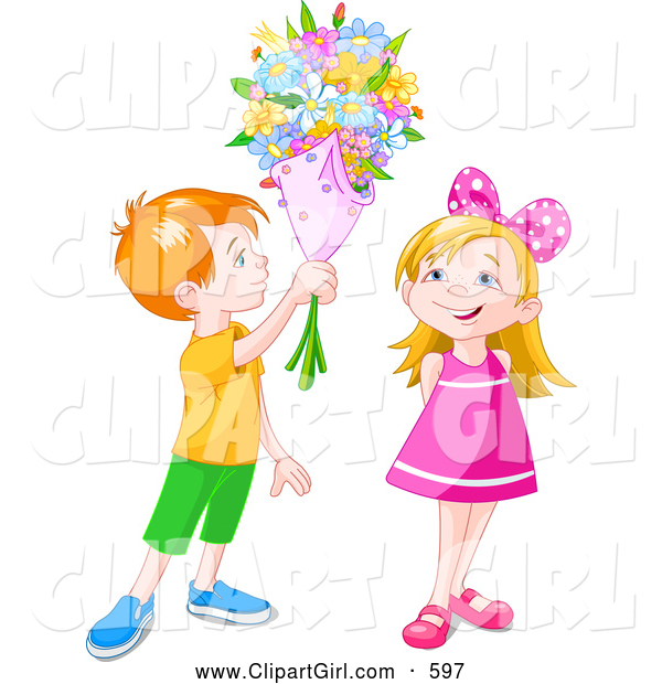 Clip Art of a Grinning Red Haired Boy Holding a Flower Bouquet over a Little Girl