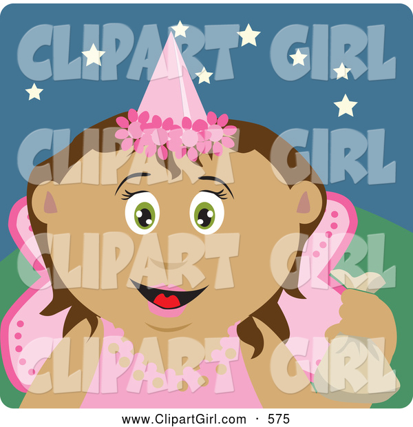 Clip Art of a Grinning Tooth Fairy in Pink, Holding up a Bag