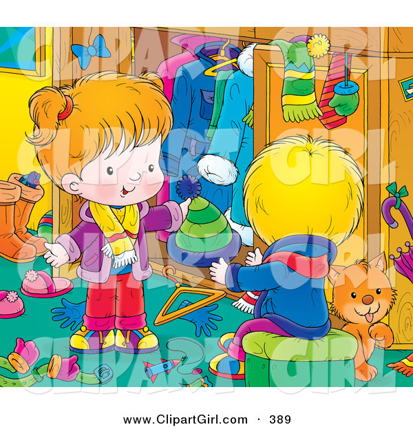 Clip Art of a Grooming Orange Cat in a Room with a Little Boy in Girl As They Go Through Their Winter Clothes and Clean up