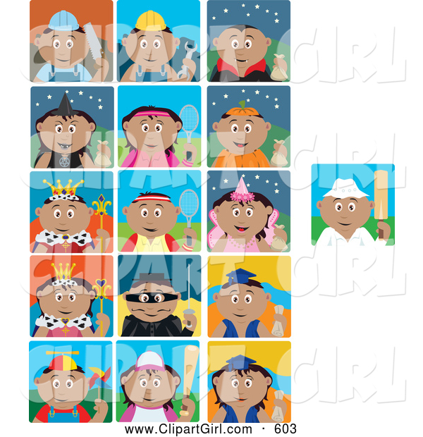Clip Art of a Group of 16 Occupation Icons, Holiday and Activity Scenes of Mexican Boys and Girls